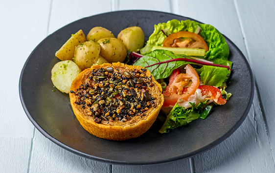 Vegan sweet potato & vegetable tart