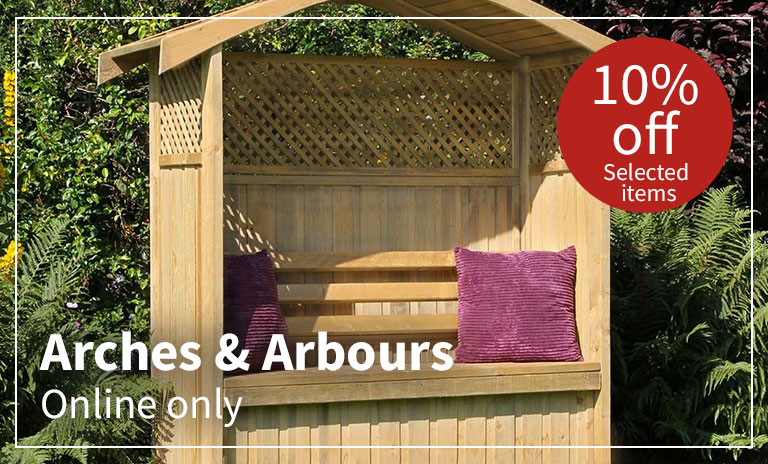 10% off selected arches and arbours